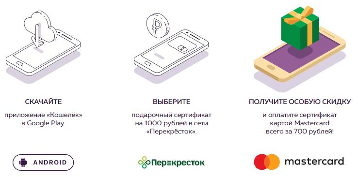 Сертификат Перекресток со скидкой от приложения кошелек