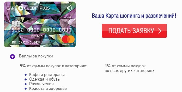 card credit plus кэшбэк карта кредит европа банк