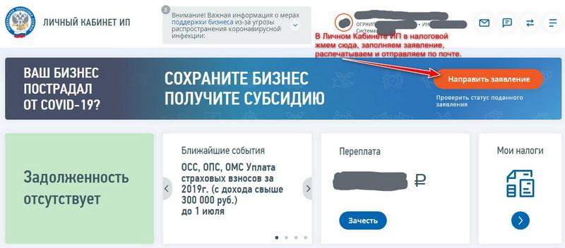Заявление на субсидию в связи с коронавирусом через личный кабинет ИП